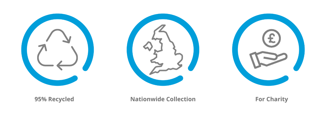 3 reasons to use Giveacar. 95% Recycled, Nationwide Collection, For Charity